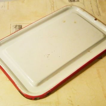 White Enamelware Lid, Red Rim, Farmhouse decor, Vintage Enamelware, Cottage Decor,