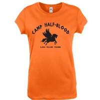 Camp Half Blood Funny Retro Half-Blood Cool Book Womens Shirt Large Orange