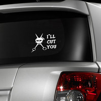 I'll cut you skull hair stylist beautician scissors vinyl car decal, graphic decal, vinyl decal, sticker, decal, car sticker, laptop sticker
