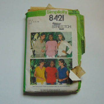 Simplicity 8421 Shirt Top Patterns 1970s Women Sizes 14 to 18 Sewing Pattern