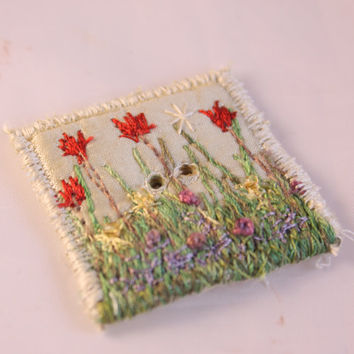 Square Button fabric covered button spring gold red tulip floral flower garden cream embroidered decorative shawl button beaded button blue