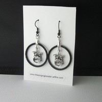 Drum Set Earrings Wire Wrapped Hoops Black Silver Unique One Of A Kind