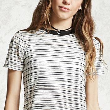 Striped Mesh Cropped Tee