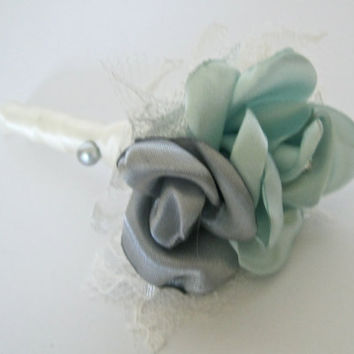 Boutonniere Sea Foam Green Grey and Ivory Vintage Inspired Fabric Flower Groom Groomsmen Usher Father of the Bride with Rhinestone Accent