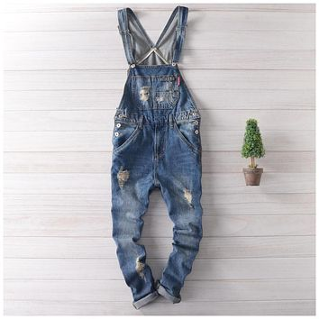 Japan Fashion Blue Denim Overalls Men Bib Overalls Hip Hop Mens Jeans Suspender Pants Salopette Homme XXL