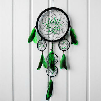 #Green #Dreamcatcher #emerald beads,#protective #home amulet ,magical talisman #NativeAmericans,multi color, handmade interior decoration
