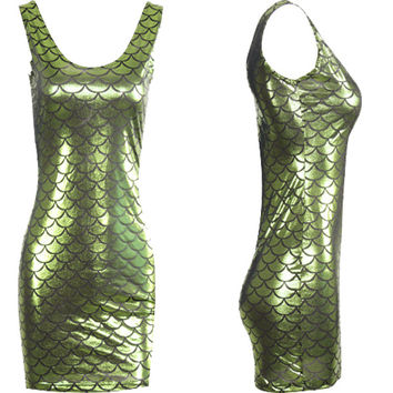 EAST KNITTING E144 New Fashion 2017 Sexy High Street Fish Scale Club Bodycon Dress