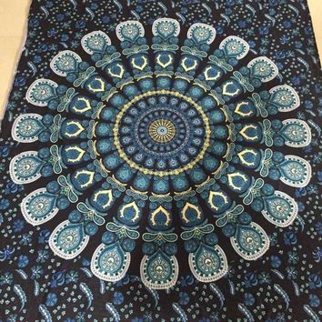 ac NOOW2 Bohemian Rectangle Hippie Tapestry Beach Throw Roundie Towel Yoga Mat