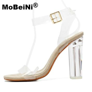 MoBeiNi Newest Women Pumps Celebrity Wearing Simple Style PVC Clear Transparent Strapp