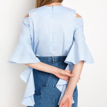 Blue Ruffled Cascade Sleeve Top