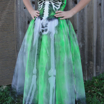 Upcycled 1980s vintage gunne sax gown / dia de los muertos / day of the dead / halloween costume / skeleton dress / small XS size 1/2 / neon