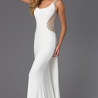 Sleeveless Floor Length Dress with Illusion Back