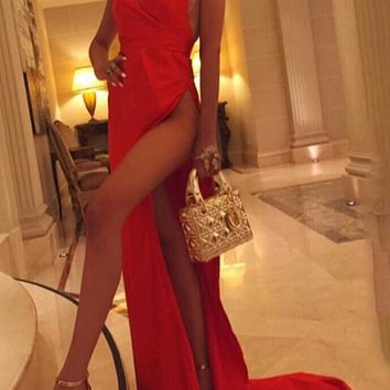Red Draped Tie Back Backless Halter Neck High Slit Homecoming Party Maxi Dress