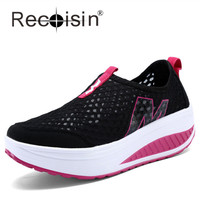 RECOISIN Women Height Increasing Shoes Summer Mesh Swing Shoes Lady Rocking Shoes Platform Wedges Black Shoes Zapatos Mujer 3308