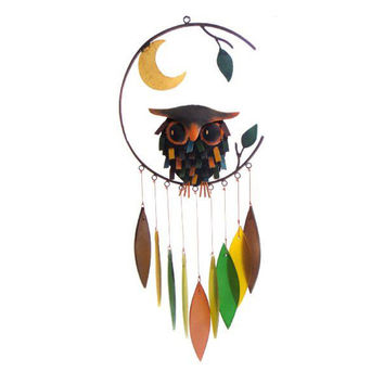 Spiky Owl with Moon Wind Chime