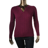 Charter Club Womens Cable Knit Long Sleeves Pullover Sweater