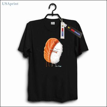 USAprint Vintage Retro Mens Funny T Shirt Sushi Hug Fashion Brand T-shirts Cotton Clothing Casual Male Tops Summer Style Gift