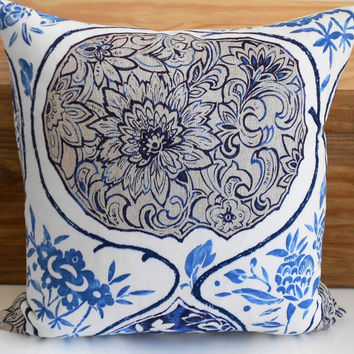 Blue Schumacher Katsugi Decorative pillow cover, navy floral pillow cover