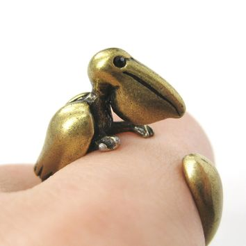 Pelican Bird Shaped Animal Wrap Around Ring in Brass | Sizes 4 to 9 Available