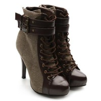Ollio Women's Winter Shoe Lace Up Military Buckle High Heel Multi Color Ankle Boot (7 B(M) US, Coffee)
