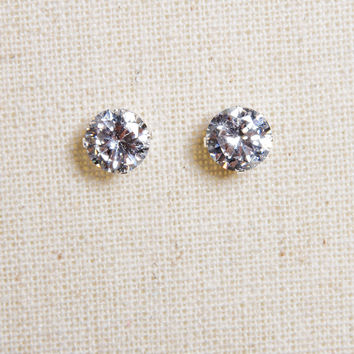 Big Stud Solitaire Sterling Silver Earrings
