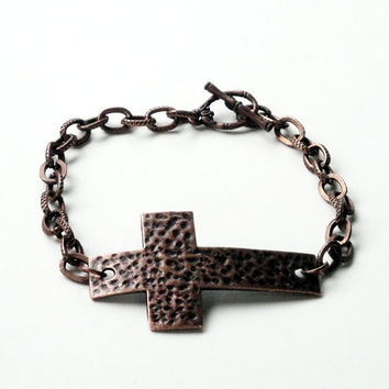 Copper Cross Hammered Sideways Bracelet, Cross Charm Chainmaille Bracelet, Religiouis Jewelry, For Her, For Him. Unisex