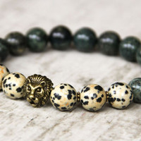 african men bracelet bronze lion bracelet for men jewelry dark green bracelet ethnic beaded bracelet gemstone natural birthstone bracelet
