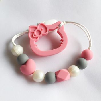 Hello Kitty teether of Silicone Teething Pacifier Clip - silicone Kitty Clip - Teether Chew Toy - baby teether pacifier clip