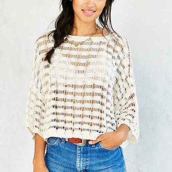 Ecote Open-Knit Grid Sweater