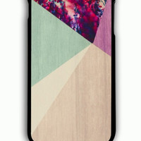 iPhone 6 Plus Case - Rubber (TPU) Cover with Floral Geometric on Wood Rubber Case Design