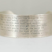 """1"""" Sterling Cuff  with Apache Blessing Imprint"""