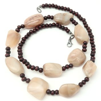 Moonstone Necklace 16 - Chunky Peach Stone Rosewood