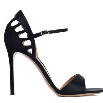 Gianvito Rossi Womens Black Satin Cut Out Sandal Heels