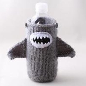 Water Bottle Cozy Monster Shark in Silver Grey Made by Handamade