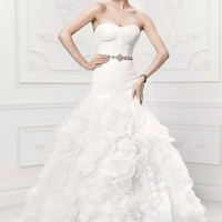 Lace Mermaid Gown with Organza Rosette Skirt - David's Bridal