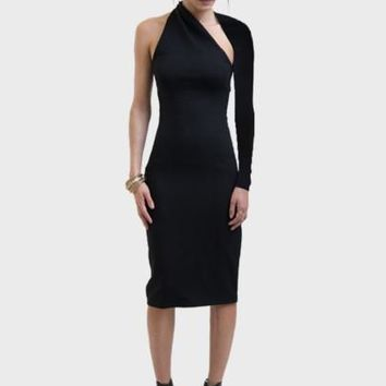 Black Open Back One Shoulder Women's Sheath Dress