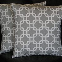 """Decorative Pillows 20"""" GREY, WHITE Chain Link Pillow Covers 20 inch storm gray Lattice"""