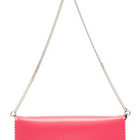Textured Leather Wallet on a Chain in Pink