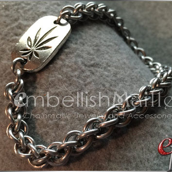 Cannabis leaf / Marijuana / Weed / Pot Chainmaille bracelet. Jens Pind Linkage (JPL) Pattern. Durable and lightweight! Great for him or her!
