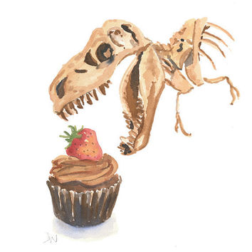 Dinosaur Watercolour Painting - Original Art, Chocolate Cupcake Painting, Dinosaur Bones, 8x10