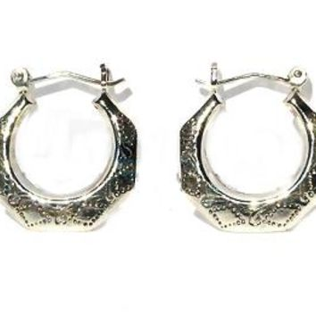 Sterling Silver Safety Pin Catch Octagon Hoops Engraved Earrings