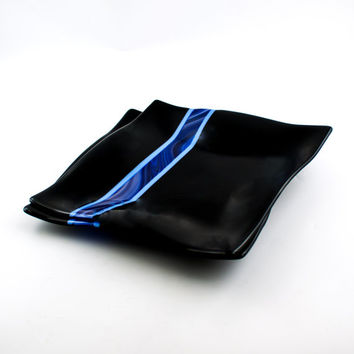 Black and Blue Fused Glass Plates, Dinnerware Set, Square Dinner Plates, Modern Design, Dining Room Decor, 3rd Anniversary Gift