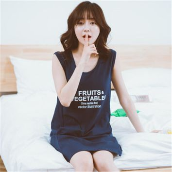 Summer cotton women short sleeved nightdress female Korean letter cute lady Home Furnishing thin clothes girls nightgown
