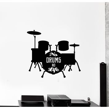 Vinyl Wall Decal Lettering Phrase No Drums No Life Musical Decor Stickers Mural (g1641)