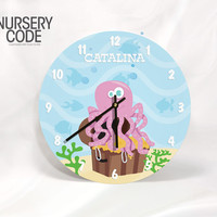 """PERSONALIZED NAUTICAL CLOCK-Octopus and treasure- 11"""" or 16"""" Diameter - 1/4 """" thick"""