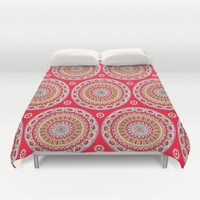 Mandala Burst in Red Duvet Cover by Sarah Oelerich