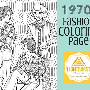 Adult Coloring Page - 1970s Men's Fashion Coloring Page