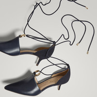 BLUE SUEDE HIGH-HEEL COURT SHOES WITH TIES - Women - Massimo Dutti