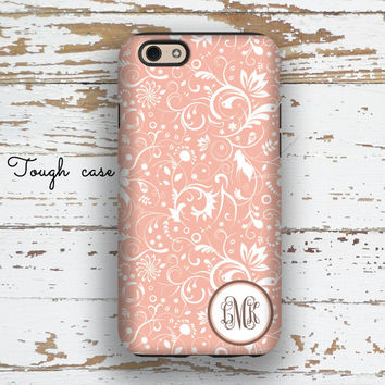 Pretty Iphone 6 +case, Pink Iphone 5c case, Floral Iphone 6s case, Monogram Iphone 5s case Womens fashion accessory Pink white damask (9789P
