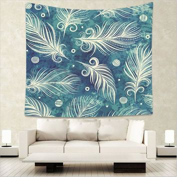 Painted Feathers Pattern Wall Hanging Mandala Blanket
